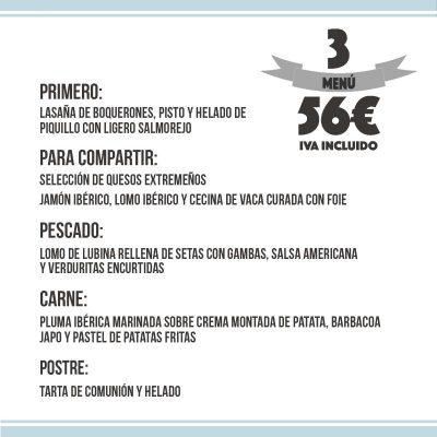menú comuniones 56€